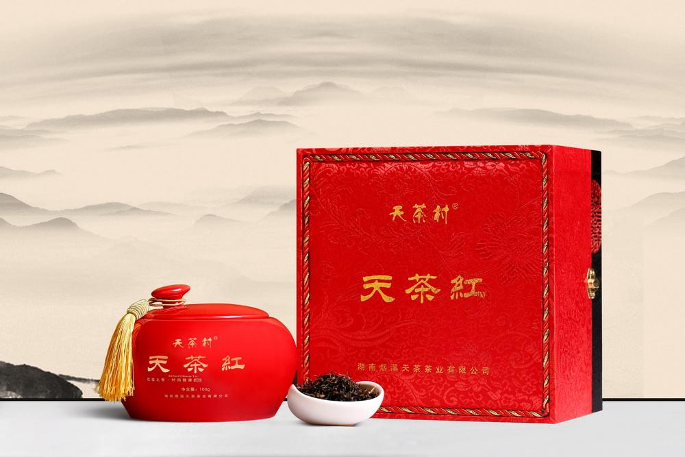 天茶红瓷坛装(特级,2018年,礼盒装,100g/坛)