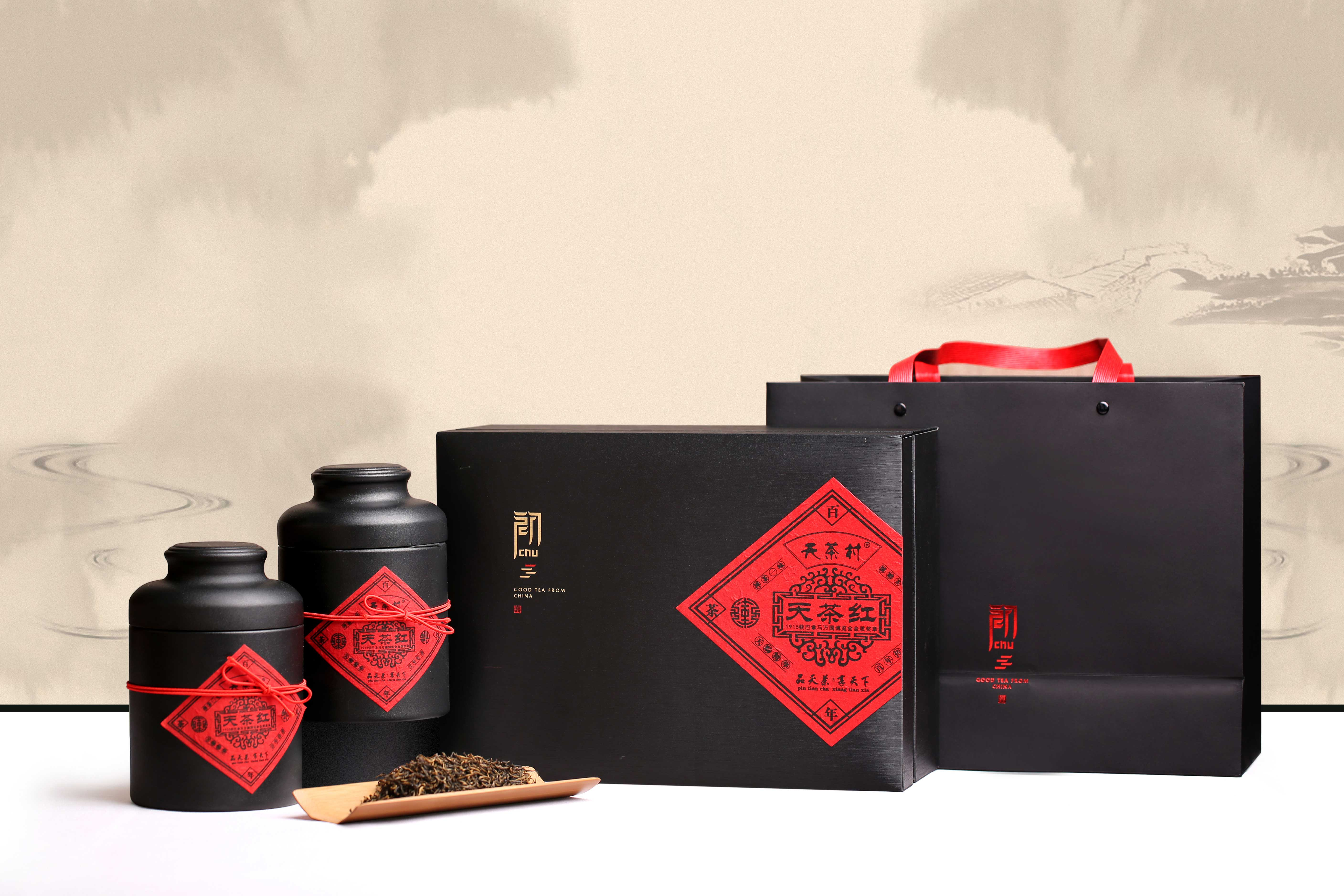 title='天茶园有机红茶生铁罐装(特级天茶红 礼盒装 100g*2罐 )'
